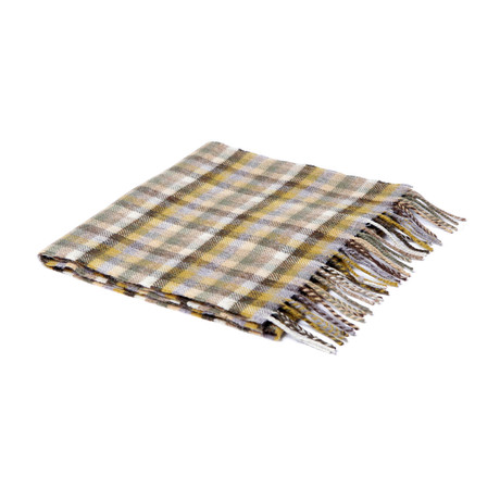 Lamb's Wool Scarf // Moss Brown Mini Check