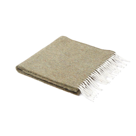 Lamb's Wool Scarf // Moss Herringbone