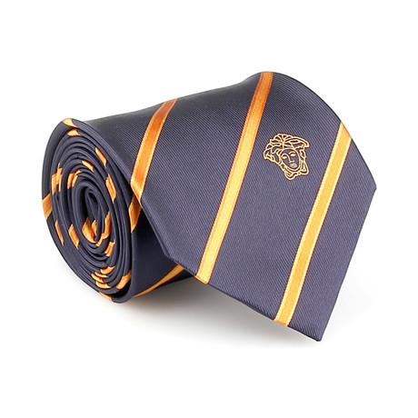 Jayson Silk Tie // Navy + Orange Stripe