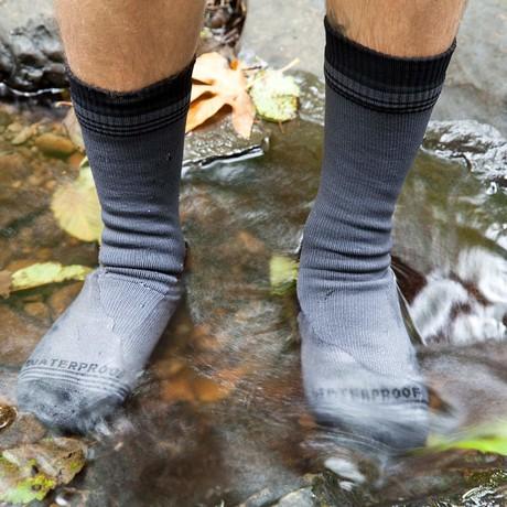 Waterproof Wool Crew Sock // Grey + Black