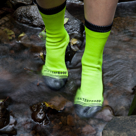 Waterproof Hi-VZ Crew Sock // Neon Yellow (XS/S)