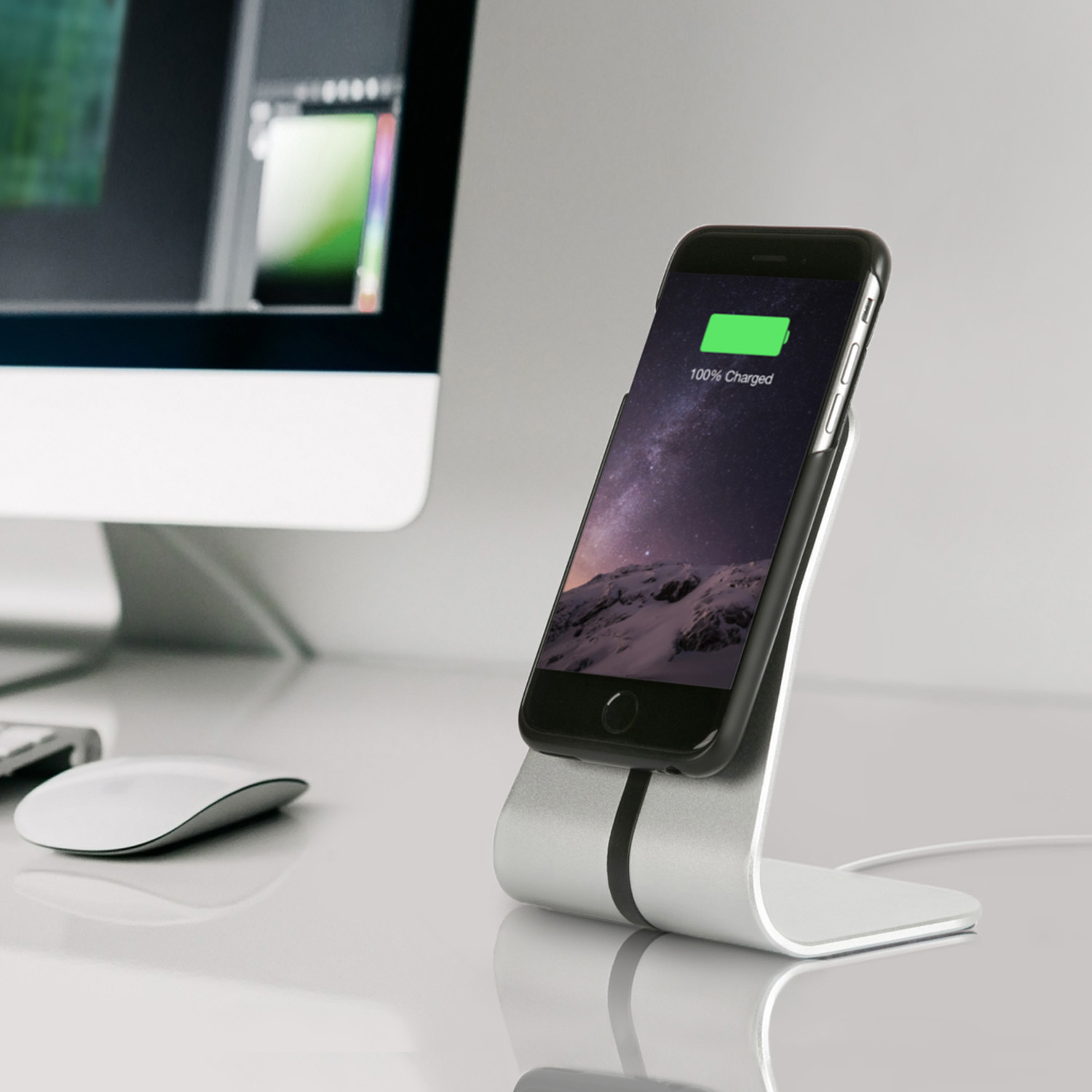 Wireless Office Desk Stand Charging Kit Silver Iphone 6 6s
