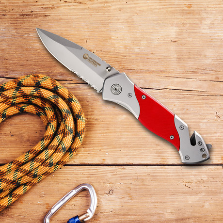 Rescue Folding Pocket Knife // Rugged (Red)