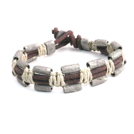 Serpentine Hemp + Pewter Bracelet