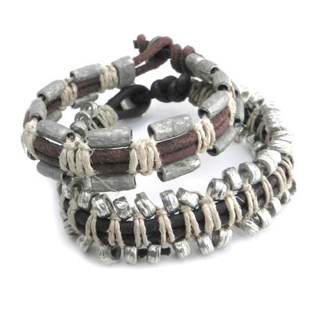 Leather + Bead Bracelet // Set of 2