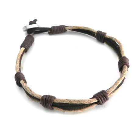 Hemp and Leather 2-Way Bracelet