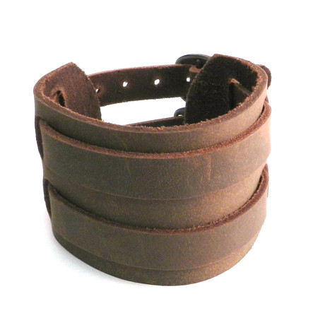 Leather Buckle Brown Cuff Bracelet (Black)