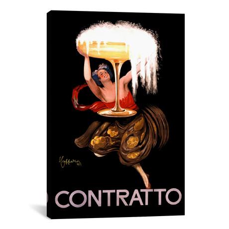 """Contratto Champagne Vintage Advertisement // Leonetto Cappiello (12""""W x 18""""H x 0.75""""D)"""