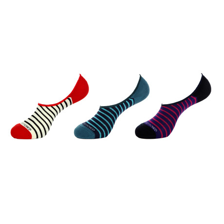 No-Show Socks // Striped Solid // Pack of 3