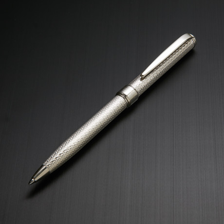 Solid 925 Silver Ball Pen // Classic Barley Engraving (Blue Ink)