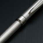 Solid 925 Silver Ballpoint Pen // Classic Barley Engraving (Blue Ink)