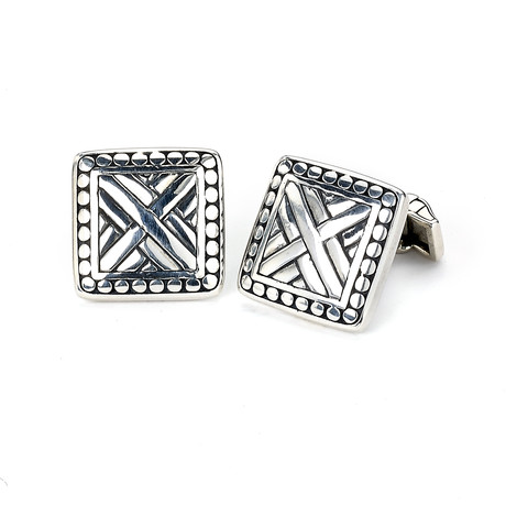 """Sterling Silver Square """"X"""" Cufflinks // Silver"""