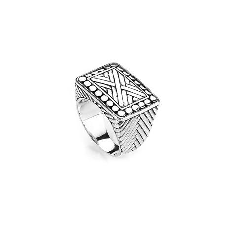 Sterling Silver Criss Cross + Beaded Border Design Square Ring (9)