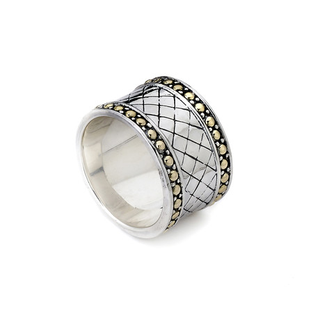 Sterling Silver 18K Ring // Silver + Gold