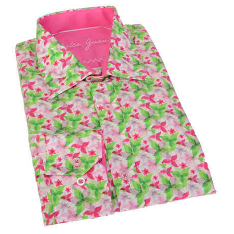 Floral Button-Up // Pink + Green
