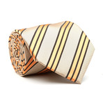 Hand Made Tie // Tan + Orange Stripe