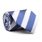 Hand Made Tie // Silver + Blue Stripe