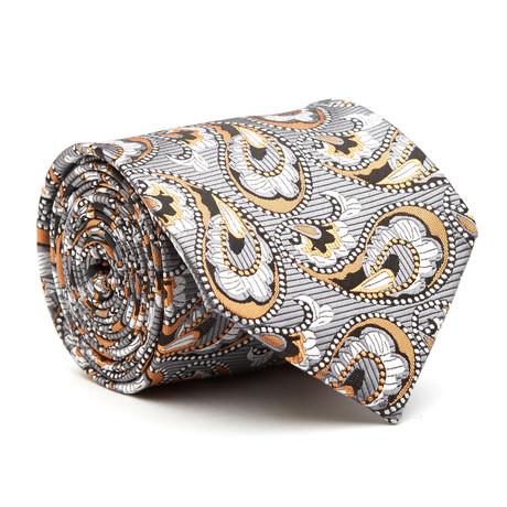 Hand Made Tie // Grey + Orange Paisley