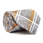 Hand Made Tie // Silver + Orange