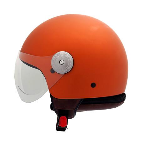 Orange Vintage Leather Helmet