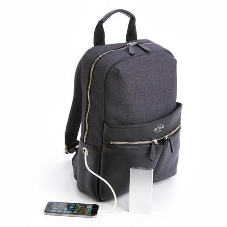Leather Backpack + Charging Bank // Black