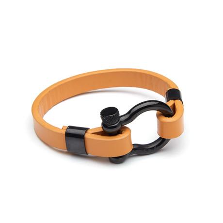 Dell Arte // Black Stainless Steel D Clamp Leather Bracelet // Tan