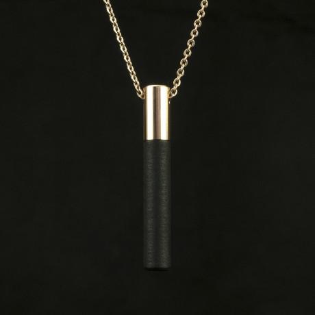 Lockstone Plus Pendant + Three Black Stones // Rose Gold