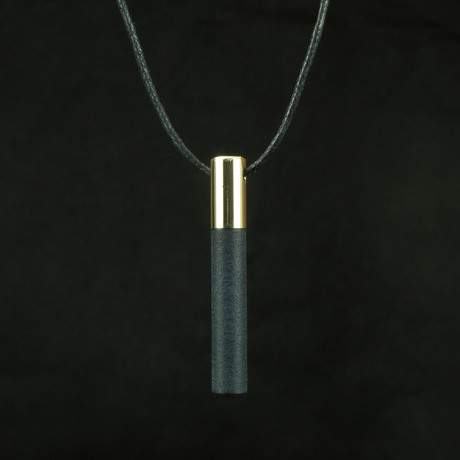Lockstone One Pendant + Black Stone // Brass