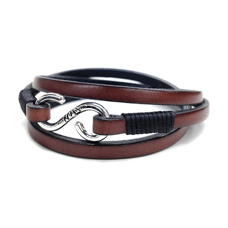 Brown Leather Strap // Handmade Sterling Clasp (Small)