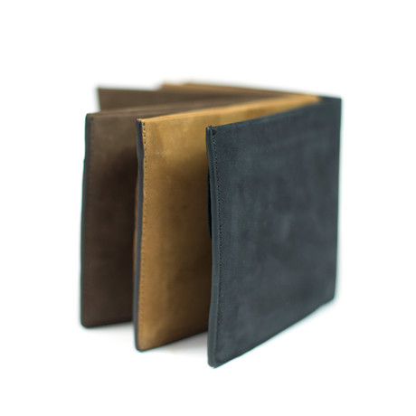 Classic Slim Fold Wallet + Coin Pocket (Brown)