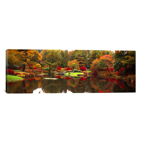 "Reflection of Trees in Water, Japanese Tea Garden, Golden Gate // Panoramic Images (36""W x 12""H x 0.75""D)"