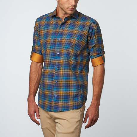 Long-Sleeve Button-Down Gingham Print // Turquoise (M)