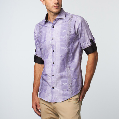 Long Sleeve Duotone Paisley Jacquard Button-Up // Lilac