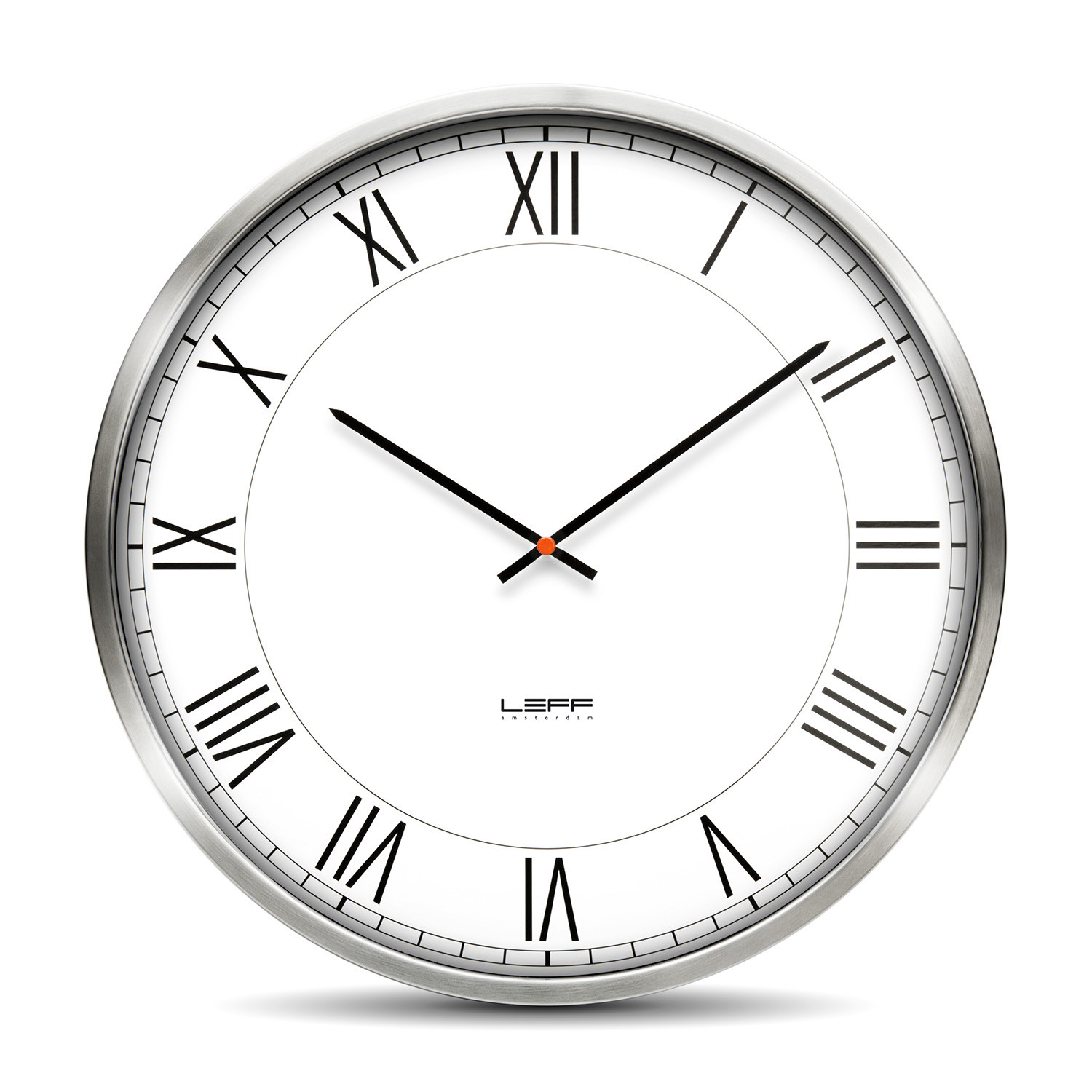 One55 Roman Wall Clock Stainless Steel Leff Amsterdam