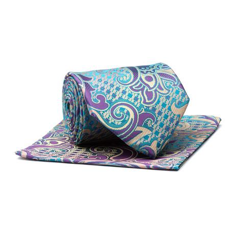 Tie + Hankie // Silver + Purple Bold Paisley
