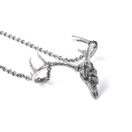 Trophy Deer Skull Necklace // Silver Plated White Bronze