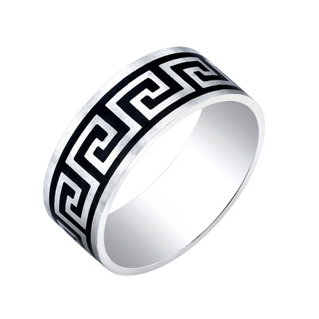 Black Plated Greek Key Ring // Style 2