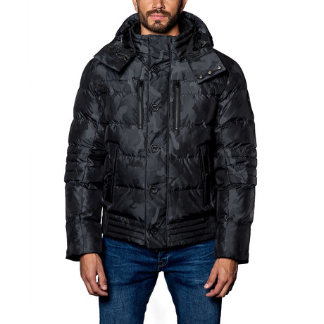 Alaska Hooded Down Puffer Coat // Black Camo (S)