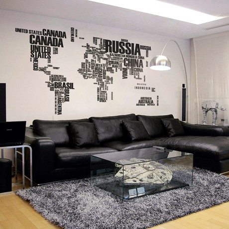 World Map + Removable Names // Black