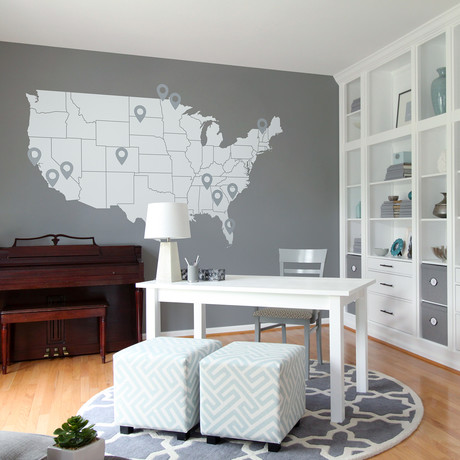 """United States Map + Pin Drop Pointers // White + Grey (120""""W x 67"""