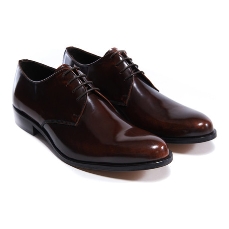 Polished Plain Toe Derby // Brandy