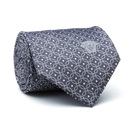Multi-Square Tie // Navy Blue + Grey