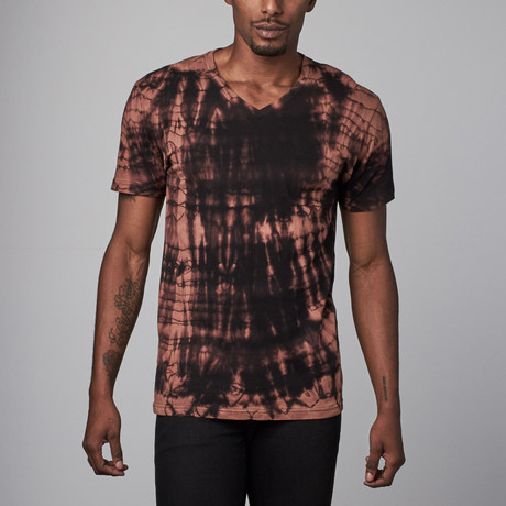 Ultra Soft Hand Dyed V-Neck // Brown + Black