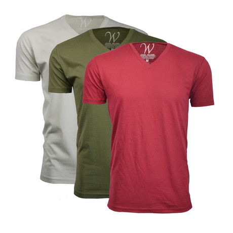 Ultra Soft Sueded V-Neck // Burgundy + Green + Sand // Pack of 3 (S)
