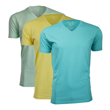 Ultra Soft Sueded V-Neck // Turquoise + Yellow + Mint // Pack of 3 (S)