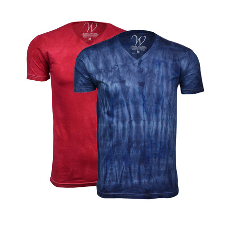 Ultra Soft Hand Dyed V-Neck // Red + Navy // Pack of 2 (S)