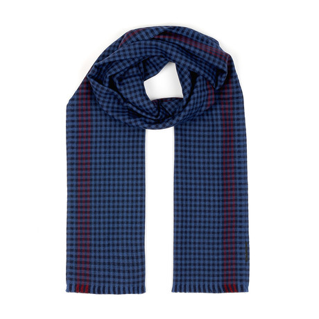 Wool Scarf // Blue + Red