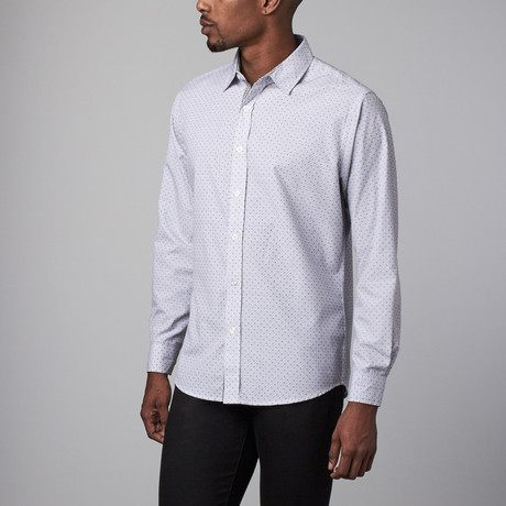 Interaffair // Meade Long Sleeve Button-Up // Light Grey + Black