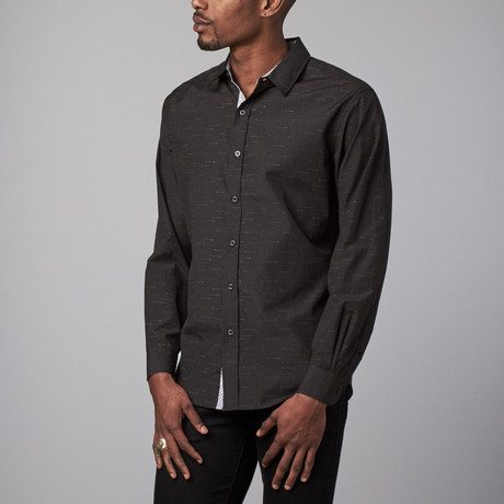 Wahr Long Sleeve Button-Up // Black + Red