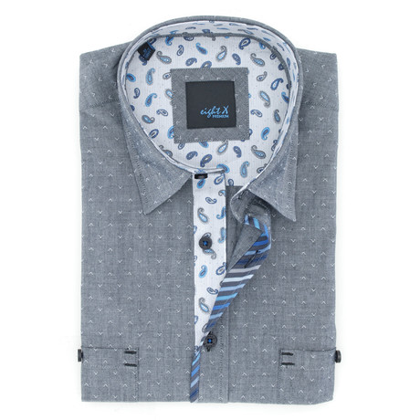 Jacquard Button-Up // Grey
